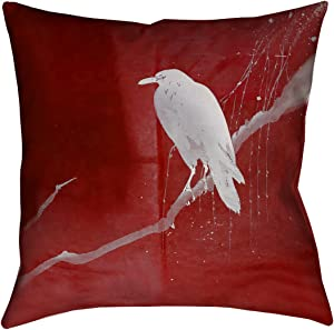 "ArtVerse Katelyn Smith 40"" x 40"" Floor Double Sided Print with Concealed Zipper & Insert White Crow and Willow Pillow"