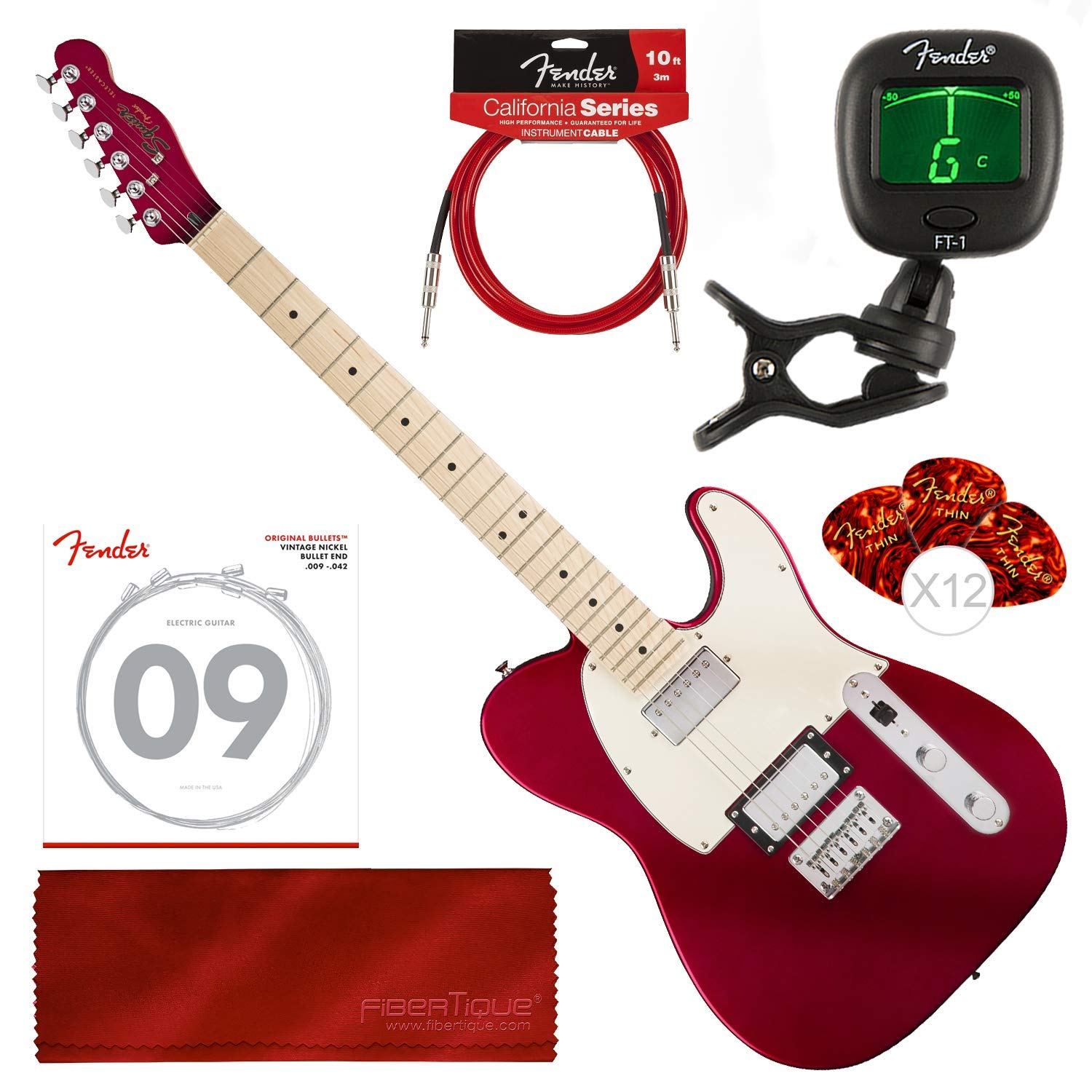 Cheap Squier by Fender Contemporary Telecaster Electric Guitar HH Dark Metallic Red with Tuner Strings Picks Cable & Cloth Bundle Black Friday & Cyber Monday 2019