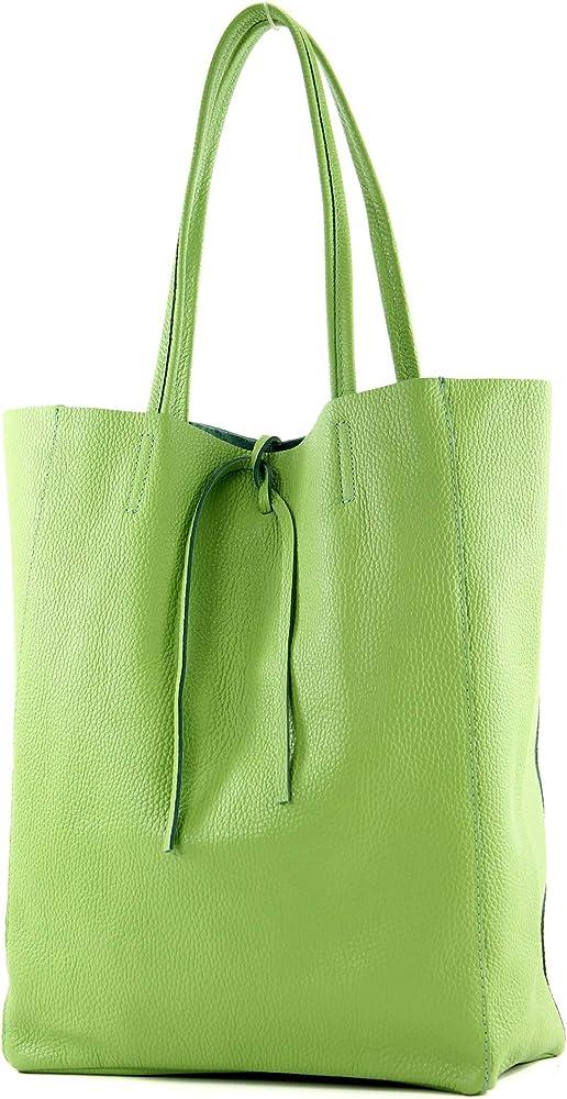 Modamoda de, borsa in pelle, shopper per donna a spalla, verdino T163APFELGN_afn