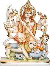 Mahishasura-Mardini Goddess Durga - White Marble Statue