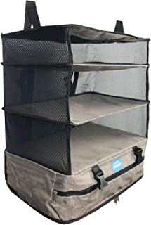 Stow-N-Go Travel Luggage Organizer and Packing Cube Space Saver With Built In Hanging Shelves and Laundry Storage Compartm...