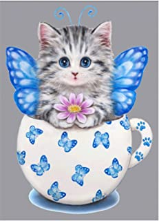 RICUVED DIY 5D Diamond Painting by Number Kit, Cute Cat Crystal Rhinestone Embroidery..