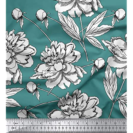 Light Sea Green Fabric Sewing Fabric Floral Print 44 Inch Cotton Fabric By The Yard ZBC8060A Handcrafted Dressmaking Fabric