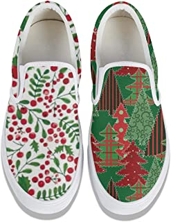 Unicorns Farting Christmas Holly Berries-01 Women's Canvas Shoes Lightweight Print Running Shoes Slip-on Sneakers