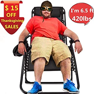 EZCHEER Zero Gravity Chair Oversized,420 lbs Weight Capacity Patio Lounge Chair, Folding Beach Chair Recliner 31.5 inch Extra Wide Yard Chair with Cup Holder(1 Pack)