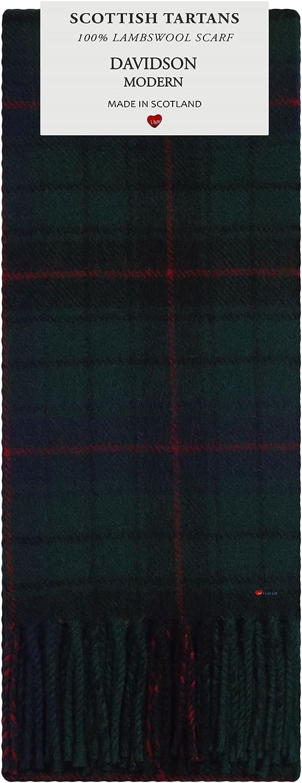 Davidson Clan Modern Tartan 100% Lambswool Scarf Made in Scotland