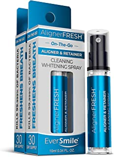 AlignerFresh Portable WhiteFoam Spray | Retainer & Invisalign Cleaner Spray - On The Go Aligner Cleaning & Teeth Whitening. Kills Bacteria & Freshens Bad Breath. Mint Flavored (2pk)