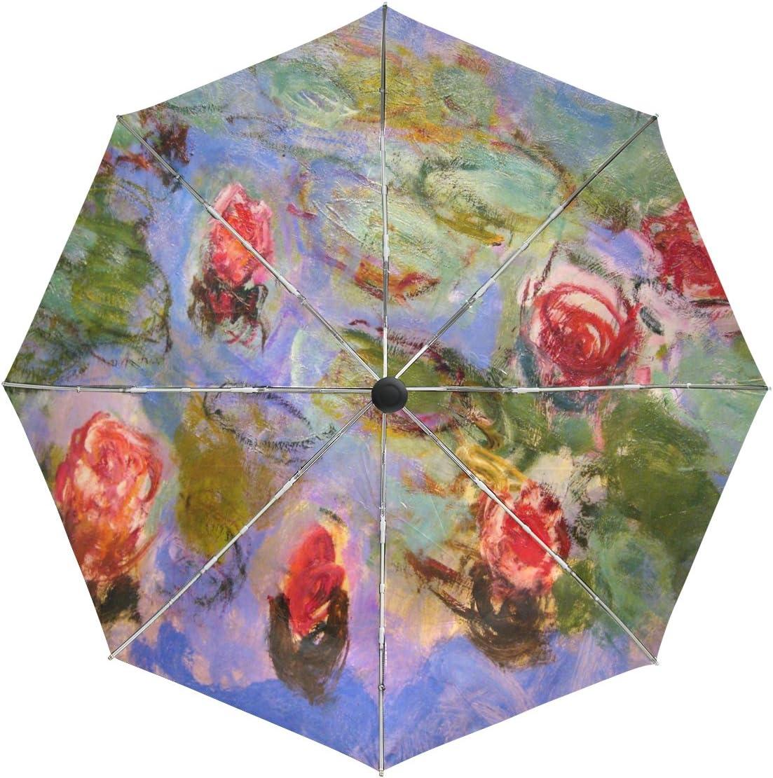 baihuishop Monet Painting Windproof Umbrellas Auto Close Open San Antonio Mall Popular 3