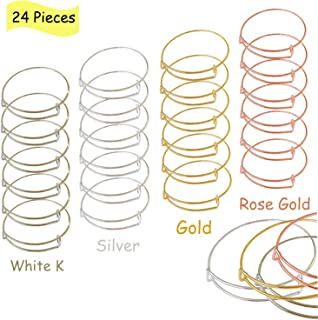 24 PCS Expandable Bangle Bracelet, Adjustable Wire Blank Bracelet Jewelry Findings for Women, DIY Jewelry Making Charms Bracelets (Silver, White K, Gold, Rose Gold)