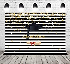 Photography Background Black and White Stripes Supplies 2019 Graduated Photo Backdrop Graduation Cap Golden Stars Confetti Backdrops for Photoshoot Props 8x6ft Vinyl GY-1053