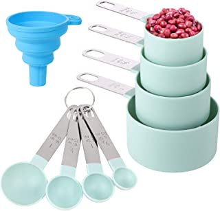 Measuring Cups and Spoons Set of 8 Pieces,Nesting Measure Cups with Stainless Steel Handle,for Dry and Liquid Ingredient (...