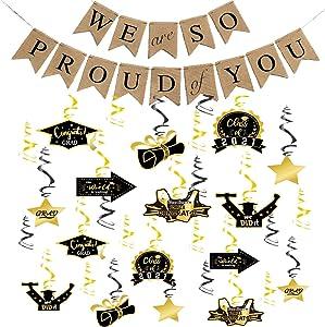 DmHirmg Graduation Decorations,Graduation Hanging Swirls for Graduation Party Supplies, 2021 Graduation Party Hanging Decor - Party Decoration Swirls, Graduation Banner with Hanging Swirls(Linen Gray)