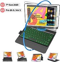 New iPad 10.2 7th Generation 2019 Keyboard Case, iPad Keyboard Case for iPad 10.2 2019, iPad Air 3 10.5 2019, iPad Pro 10.5 2017, with Apple Pencil Holder, 360 Rotatable, 7 Colors Backlit – Black