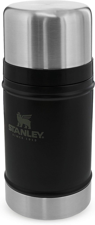 Stanley Classic Legendary Food Jar 0.7L / 24OZ Matte Black – Termo para comida de Acero Inoxidable Sin BPA - Caliente durante 15 horas - Tapa Doble que Sirve de Taza - Apto Para Lavavajillas