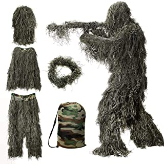 Chicdog Camo Suits Ghillie Suits 3D Leaves Woodland Camouflage Clothing Army Sniper Military Clothes and Pants for Jungle ...