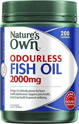 Nature's Own Odourless Fish Oil 2000mg - Source of Omega-3 - Maintains Wellbeing - Supports Healthy Heart and Brain, ...