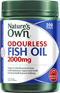 Nature's Own Odourless Fish Oil 2000mg - Source of Omega-3 - Maintains Wellbeing - Supports Healthy Heart and Brain, 200 C...