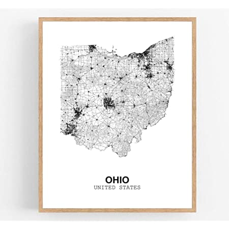 Eleville 8X10 Unframed Ohio United States Country View Abstract Road Modern Map Art Print Poster Wall Office Home Decor Minimalist Line Art Hometown Housewarming wgn191