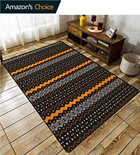 Abstract Floral Area Rug Soft, Aztec Pattern Tribal Folk Native American Vertical Zig Zag Motif, Durable Rugs - Living, Dinning, Office, Rooms & Bedrrom, Hallway Carpet(2.5'x 7') Marigold and Black