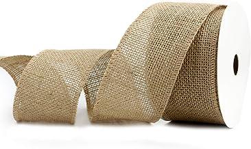 """Midi Ribbon 2-1/2"""" Burlap Fabric Craft Ribbon On Spool 10 Yards, Natural"""