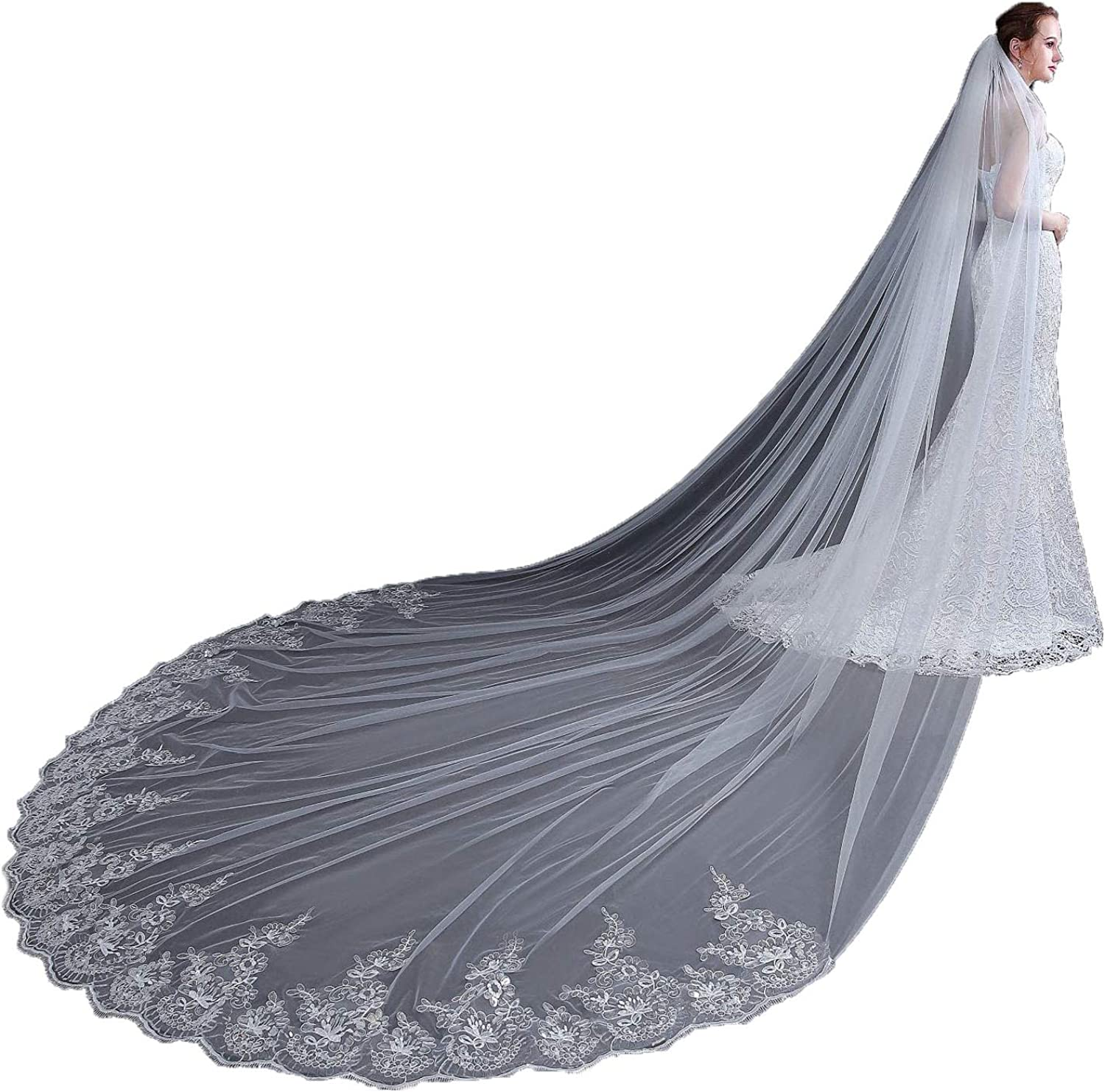 AIBIYI Vintage Long Veil Sequins Lace (300cm) Cathedral Bridal Veil with Comb ABYV42