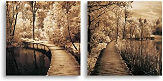 Mon Autumn Scene Canvas Print Bridge in Greenway Tree Forest Portray Landscape Picture Wall Art Vintage Retro Decoration for Living Room Bedroom Rustic Countryside Home Decor Artwork Framed,16x16x2P
