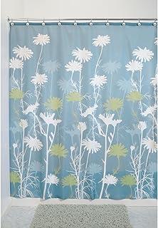 InterDesign Daizy Shower Curtain, Blue and Sage, 72 x 72-Inch