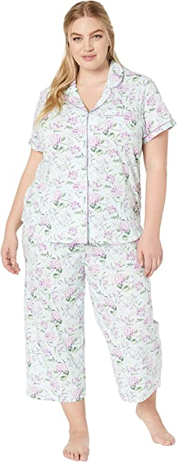 Plus Size Cloud Nine Short Sleeve Girlfriend Capris PJ