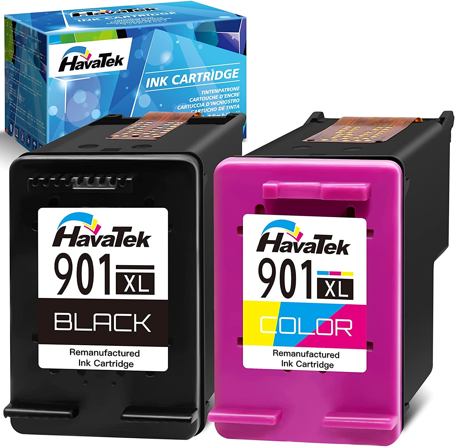 HavaTek Remanufactured Ink Cartridge Replacement for HP 901XL 901 XL (1 Black, 1 Color) Used for OfficeJet J4550 J4680 4500 J4580 J4540 J4500 J4680c G510a G510b G510g G510h G510n J4524 J4525 Printer