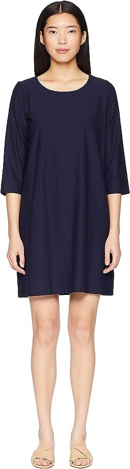 Lightweight Washable Stretch Crepe Scoop Neck 3/4 Sleeve Dress