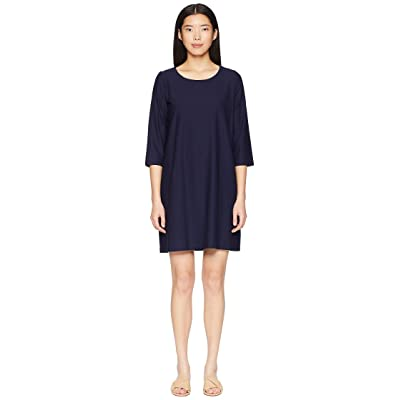 Eileen Fisher Lightweight Washable Stretch Crepe Scoop Neck 3/4 Sleeve Dress (Midnight) Women