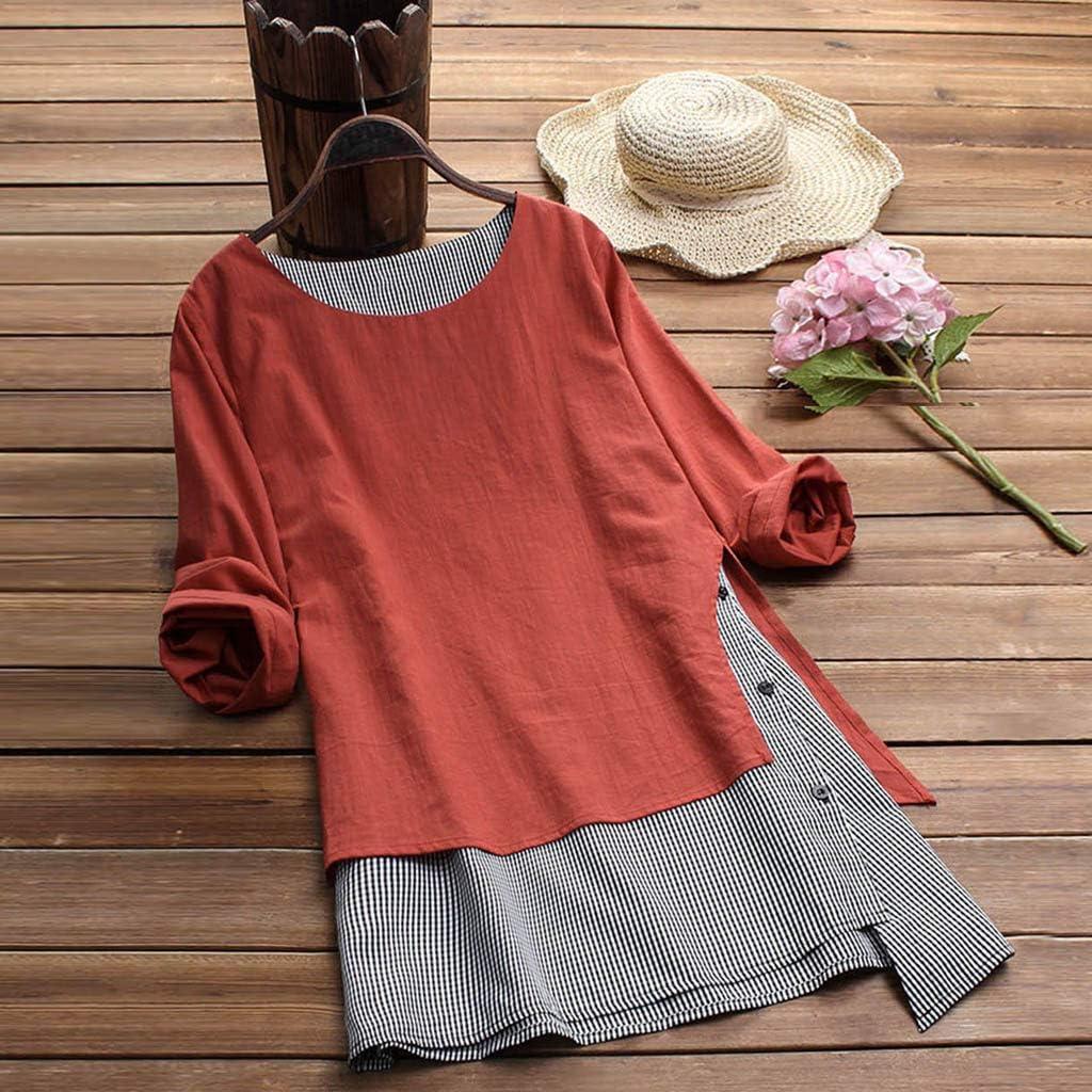 NPRADLA 2019 Damen Casual Button Plus Size Splice Baumwolle Tops T Shirt Gitter Lose Bluse Orange