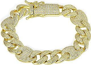 18k Hip Hop Cuban Chain Diamond Gold Plated Miami Chain for Men Hip Hop Danc Daily Party
