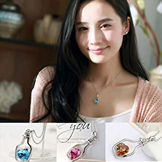 New Bottle Rhinestone Silver Chain Crystal Necklace Pendant Jewerly Fashion Gift