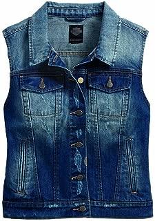 HARLEY-DAVIDSON Women's Button Front Fitted Denim Vest, Blue 96174-17VW