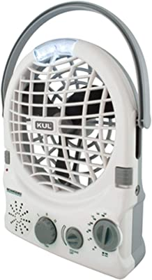 KUL White AM/FM Radio Fan, 6-Inch, 2-Speed