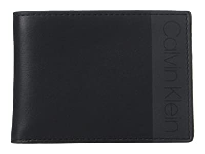 Calvin Klein Leather Bifold Wallet w/ Printed Logo (Black) Handbags