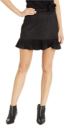 Sagittarius Faux Suede Ruffle Skirt