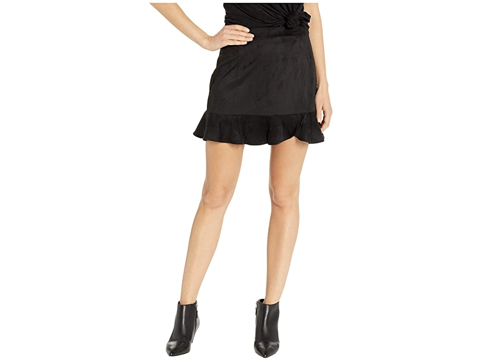 Jack by BB Dakota Sagittarius Faux Suede Ruffle Skirt (Black) Women
