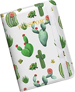 Supgear Passport Holder Protector, RFID Blocking PU Leather Passport Cover Travel Wallet Case with Magnetic Buckle for Men & Women (Cactus)
