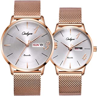 Couple Lovers Wrist Watches with Japan Quartz Movement Ultra-Thin Waterproof-2ps