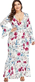 Floerns Women's Plus Size V Neck Long Sleeve Belted Floral Maxi Wrap Dress