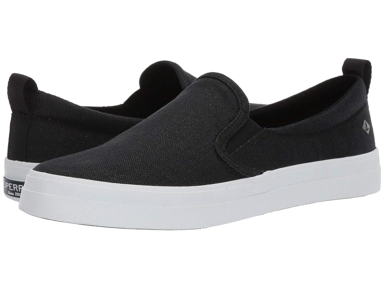 [スペリートップサイダー] レディースウォーキングシューズ?カジュアルスニーカー?靴 Crest S/O Sparkle Linen Black 12 (29cm) M (B) [並行輸入品]
