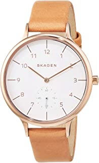 Skagen Women's Anita Quartz Stainless Steel and Leather Casual Watch, Color: Rose Gold-Tone, Brown (Model: SKW2405)