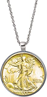 Gold Layered Silver Walking Liberty Half Dollar Coin Silvertone Pendant Necklace