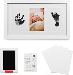 Baby Handprint and Footprint Kit in Elegant White Natural Wood, Clean Touch Inkless Ink Pad Extra-Large, Non-Toxic, Newborn 12 Month, Baby Safe, Pawprints