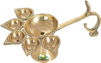 Himshikhar Brass Aarti Diya, Oil lamp, 5 batti and 1 Big batti Arti, Pooja Articles Home Decor Item, House Warming Decorat...
