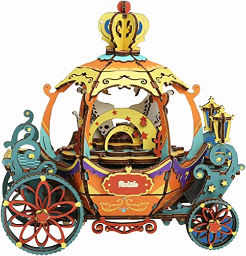 ROBOTIME DIY Music Box Kit 3D Wooden Puzzle Romantic Rotating Pumpkin Cart Model Kit DIY Wooden Crafts for Adults and Kids