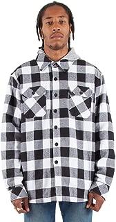 Men's SHFJ Hooded Button Up Plaid Flannel Jacket