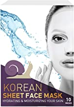 Korean Sheet Face Mask – 10 Packs - for Deep Moisturizing and Hydrating with Snail Secretion Filtrate 7,000 PPM - Make Your Skin Smooth and Glowing and Get Soft, Bright Beautiful Face - Made in Korea.